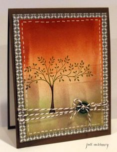 Stampin' Up! ... handmade card: Thoughts and Prayers Tree Brayered by JodiMckinney ... luv the oranges and olives in the brayered background ...