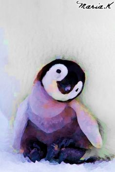 A detailed, type of abstract painting of a baby penguin, signed by me (Maria K)