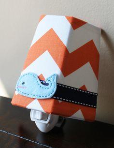 Little Blue Whale - Orange Chevron - Children's - Night Light. $20.00, via Etsy.