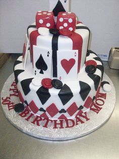 Calumet Bakery  Red, White, Black Casino Cake, Dice Toppper