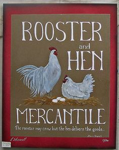 Rooster and Hen Mercantile folk art sign. $95.00, via Etsy.