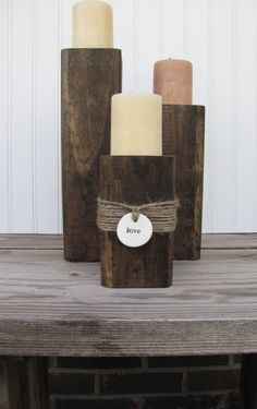 Rustic Wood Candle Stands. $38.00, via Etsy.