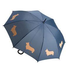 Pembroke Welsh Corgi Umbrella Tan on Navy Blue #PembrokeWelshCorgi