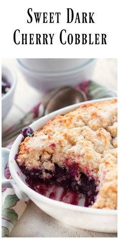 Sweet Dark Cherry Cobble uses frozen, thawed sweet dark cherries to make a homemade cherry filling that is topped with a batter and sprinkled with sugar.  via @https://www.pinterest.com/BunnysWarmOven/bunnys-warm-oven/