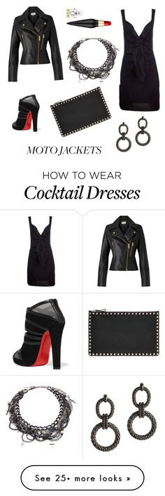 """Little Black Biker"" by franzipantz on Polyvore featuring Chanel, Christian Louboutin, Valentino, Erickson Beamon, Somerset by Alice Temperley and Bridget King"