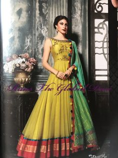 PalkhiFashion Exclusive Full Flair Lime Green Silk Outfit with Elegant Work. Indian Gowns, Indian Attire, Indian Wear, Indian Outfits, Anarkali Dress, Ghagra Saree, Lehenga Gown, Indian Designer Suits, Lehenga Designs