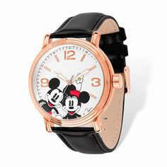 Disney Women's Stainless Steel Mickey Mouse Design Rose-tone Black Leather Watch (Disney), Multi, Size One Size Fits All Mickey Mouse Jewelry, Mickey Mouse Design, Mickey Mouse Watch, Disney Jewelry, Disney Mickey Mouse, Minnie Mouse, Disney Disney, Cartier, Black Leather Watch