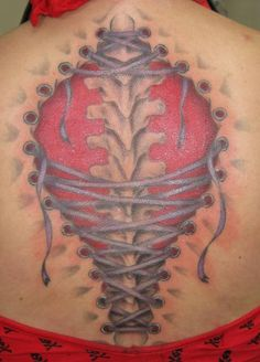 Ripped Skin Corset Tattoo For Back