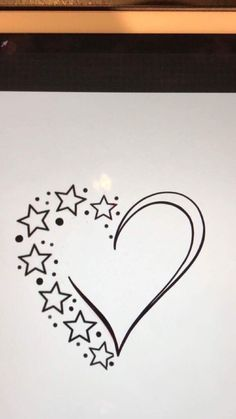 Stars n heart cousin tattoos, family tattoos, tattoos for daughters, star tattoos, Art Drawings Sketches Simple, Pencil Art Drawings, Easy Drawings, Tattoo Drawings, Diy Jewelry Unique, Diy Jewelry Making, Wolf Tattoos, Star Tattoos, Star Tattoo Designs