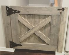 This Farmhouse Baby ( or dog) Gate can be customized to fit any stairway, doorway or… Barn Door Baby Gate, Barn Doors, Pet Gate, Sliding Doors, Rustic Home Interiors, Baby Gates, Diy Baby Gate, Gates For Babies, Child Gates