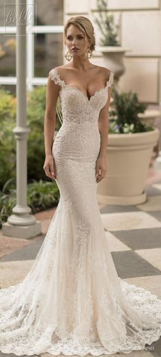 Naama and Anat Wedding Dress Collection 2019 - Dancing Up the Aisle - PASODOBLE an elegant lace fitted off the shoulder sweetheart neckline bridal gown with plunging back, full embellishment and cowl back sweep train #weddingdress #weddingdresses #bridalgown #bridal #bridalgowns #weddinggown #bridetobe #weddings #bride #weddinginspiration #weddingideas #bridalcollection #bridaldress #fashion #dress See more gorgeous wedding gowns by clicking on the photo