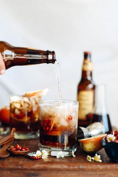 This easy Fall cocktail recipe is filled with dark rum, honey crisp simple syrup and sparkling hard cider. Perfect for Thanksgiving or fall entertaining. Save this recipe to use for all of your Fall holiday entertaining! Cider Cocktails, Fall Cocktails, Fall Drinks, Mixed Drinks, Pina Colada, Best Hard Cider, Raspberry Mojito, Thanksgiving, Lemon Herb