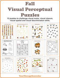Fall Visual Perceptual Puzzles to challenge visual motor, visual spatial, visual discrimination and motor planning skills.
