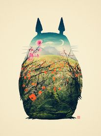 Tonari no Totoro. This one is dedicated to my lovely wife, thanks for insisting so much on this :) Prints available at my Society6 — Designspiration