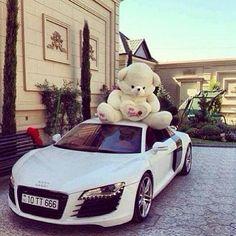 Audi R8 with a teddy bear