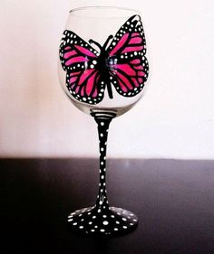Pink Butterfly painted wine glass