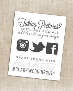 Hashtag Print - Wedding Instagram Facebook Twitter White - Printable