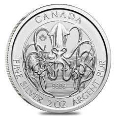 2020 2 Oz Royal Canadian Creatures Of The North Series The Kraken Silver Coin Bu - Financializer Store Silver Coins For Sale, Gold Coins, Monster Box, Coin Design, Coin Display, Design Fields, Old Money, Silver Bullion, Effigy