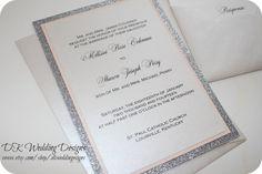 Glitter Wedding Invitation Blush and Silver by DKWeddingDesigns