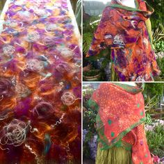 This reversible nuno felted Scarf/ shawl has two very different sides almost giving you two shawls for the price of one. The base is upcycled orange sari silk with a tiny shibori pattern on the silk chiffon. The top side has been felted with soft fine merino wool in greens, purples and
