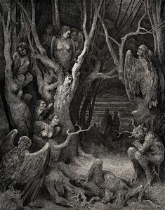 Doré Gustave - Harpies In The Forest Of Suicides (Divine Comedy, Divina Commedia)