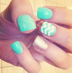Teal nails for September, Ovarian Cancer Awareness.