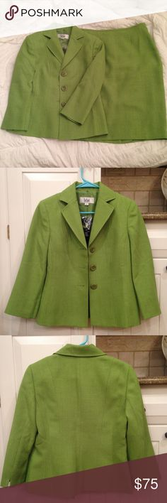 """Le Suit Matching Green Skirt Suit An AMAZING deal (62.5% off!!) on a high-end skirt suit from Le Suit!  In pristine condition - never before worn with tags and spare button still attached.  Both pieces are US size 4 (UK size 8) and in the color """"Palm Beach Lime.""""  Also willing to sell the pieces individually for $40 each, upon request! Le Suit Skirts Skirt Sets"""