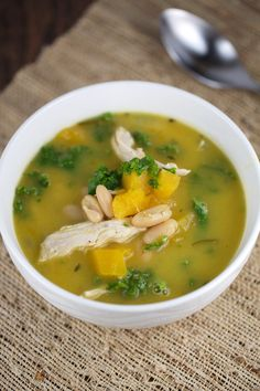 Wholesome and hearty chicken butternut squash soup recipe. A healthy and flavorful soup with chicken, tender squash, kale and tender white beans.