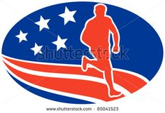 vector illustration of a illustration of a Marathon road runner jogger fitness training road running with American stars and stripes in background inside oval - stock vector #runner #retro #illustration