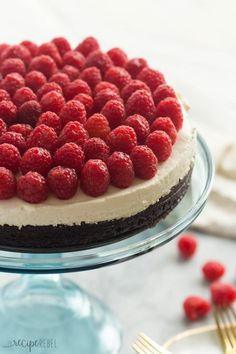 Brownie Bottom Cheesecake with Raspberries