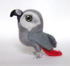 Felt African Grey toy