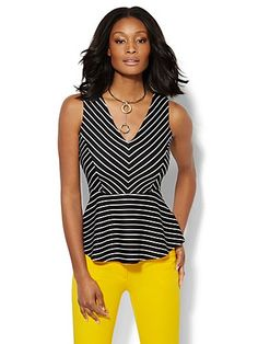 Shop 7th Avenue Design Studio - Striped Peplum Top. Find your perfect size  online at