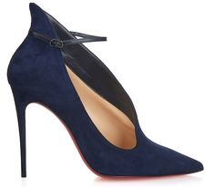 7f926d6d35d Fall 2015 Christian Louboutin Vampydoly Navy Suede Asymmetric Cut Thin  Ankle Strap Pumps Blue Suede Shoes
