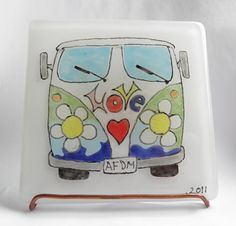 @Sally Rutledge-OttVW Camper Van - of LOVE Bespoke Fused Glass Tile - Hand Painted. £75.00, via Etsy.