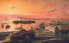 New York Harbour, lower Manhattan Island, looking west to the Statue of Liberty New York Harbor, Ellis Island, Vintage New York, Lower Manhattan, Gilded Age, Old Pictures, East Coast, Old And New, Vintage Photos