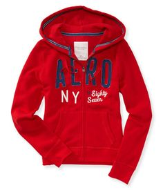 "Mellowing out on a manic Monday was unheard of -- till now! Our Aero NY Full-Zip Hoodie makes takin' it easy a total breeze with soft, fleecy fabric that feels ultralight on your skin. Signature appliqués and contrast embroidery cover your style needs, so all you have to do is sit back and relax!<br><br>Relaxed fit. Drawstring. Approx. length (M): 24""<br>Style: 4217. Imported.<br><br>60% cotton, 40% polyester.<br>Machine wash/dry."