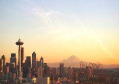 ACEO Seattle Skyline Space Needle Mount Rainier by LTphotographs, $5.00