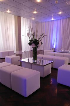 King's College Cambridge - White chill-out cube furniture and white wall drapes by www.stressfreehire.com #venuetransformers