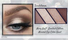 """Mary Kay LTD Ed Mineral Eye Color Quad in """"Sandstorm"""". MAKE EYES LOOK BIGGER by using a shimmery eye color as a base over entire eyelid. Focus darker eye color to the outer third of the eye, blending it a little past the outermost crease of the eye. Extend eyeliner a little past the outer edge of the lashline. www.marykay.com/LaShon"""