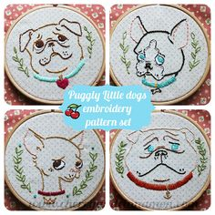 Puggly Little Dogs hand embroidery pattern set by Bridgeen, £4.30