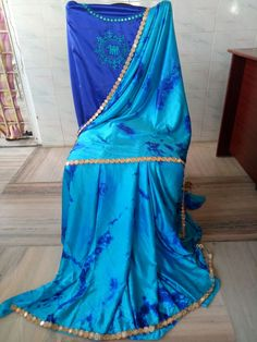 Satin shibouri sarees with blouse embroidery and mirror work lace Shibori Sarees, Mirror Work, Blouse Designs, Tie Dye Skirt, Satin, Lace, Skirts, Blouses, Embroidery