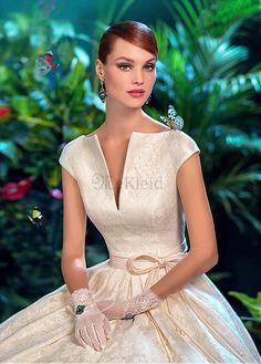 Vintage Ganze Lange Natürliche Taille Kurzarm Gekappte Ärmel Brautkleid - Bild 1