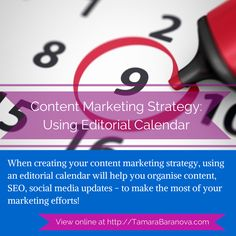 When creating your content marketing strategy, using an editorial calendar will help you organise content, SEO, social media updates - to make the most of your marketing efforts! - See more at: http://www.tamarabaranova.com/content-strategy-editorial-calendar/