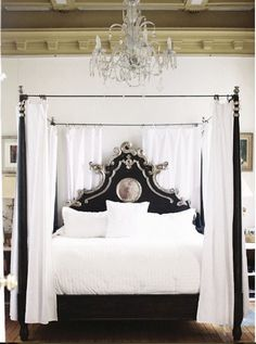 Black and SIlver french style 4 poster bed
