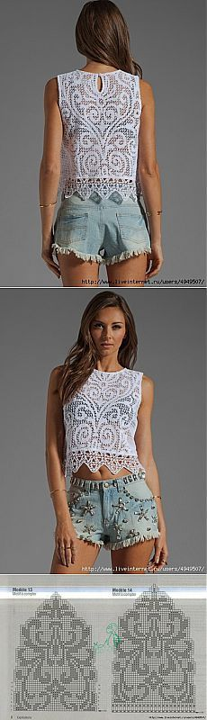 Beautiful filet crochet Top with its diagrams