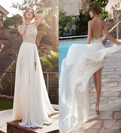 Discount Julie Vino 2014 Backless Wedding Dresses Eden Halter Neck Chiffon Wedding Dress Applique Pearls Sexy Side Slit Bride Gown Prom Dresses Online with $117.28/Piece | DHgate