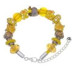 Yellow You are My Sunshine Large Hole Bead Bracelet Jewelry Idea Yellow Jewelry, Bold Jewelry, Glass Jewelry, Diy Jewelry, Beaded Jewelry, Jewelry Bracelets, Jewelry Design, Fashion Jewelry, Jewellery