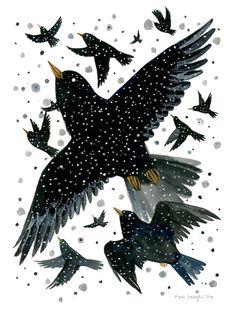 Starlings  6 x 8 inch Archival Inkjet gicléePrint door DianaSudyka