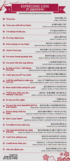 Infographic: how to express your love in Japanese