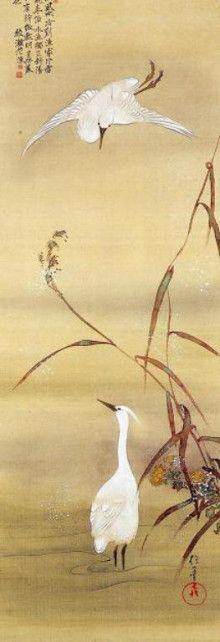 飛雪白鷺図
